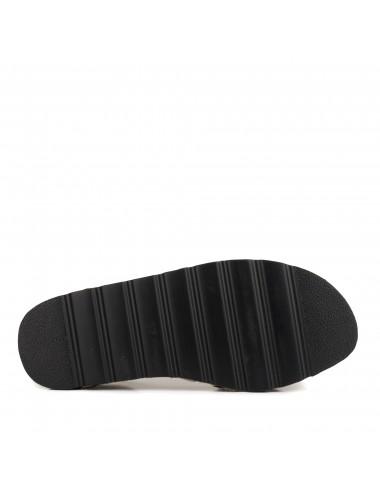 María Barceló M800202 Zapato Oxford con Lazo y Flecos de Mujer en Charol y Glitter con Cierre Ajustable de Cordones en Marrón